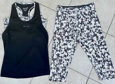 USA Pro Girls Sports Vest Bra Top And Leggings Lycra Gym Running Age 9-10 Ex Con