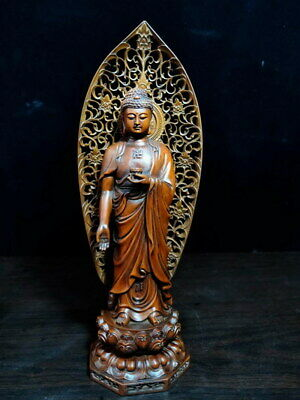 Exquisite Boxwood Carving Male Guanyin Behind Screen Precious Elegant Statue