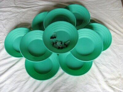 "Lot Of 10- 10"" Green Gold Pans & 10 Free Plastic Vials"