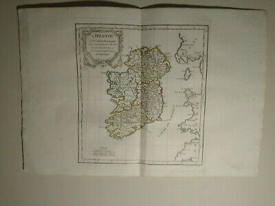 Ireland, 1784 HAND COLORED MAP DE VAUGONDY