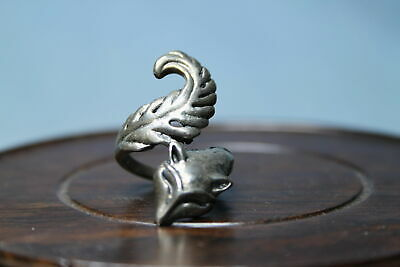 Decoration Handwork Noble Miao Silver Carving Fox Head Auspicious Souvenir Ring