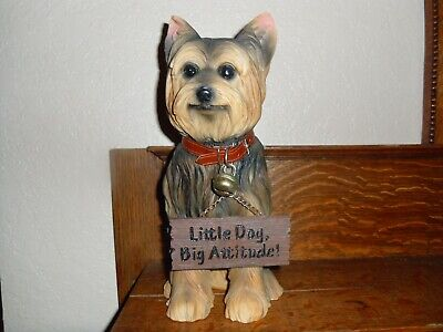 Yorkshire Terrier Yorkie Front Door Statue w Double-sided Sign and Jingle Bell