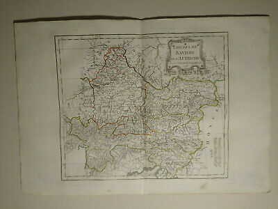 Bavaria Austria, 1784 HAND COLORED MAP DE VAUGONDY
