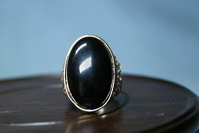 Collectable Miao Silver Inlay Black Precious Stone Auspicious Beautiful Ring
