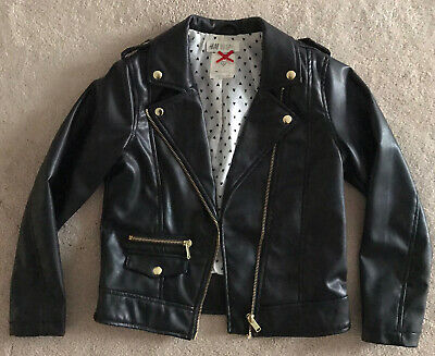 H&M Hennes Girls Black Faux leather Biker Jacket - Age 7-8 Years