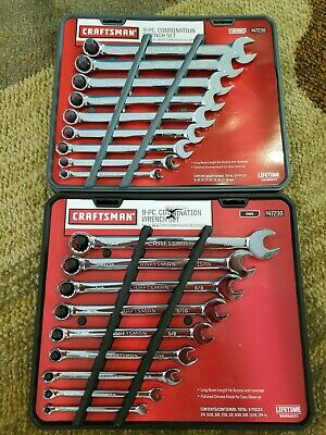 NEW - 2 CRAFTSMAN Combination Wrench Sets SAE(Inch) & Metric 18 New Wrenches