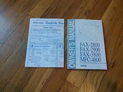 Brother Fax Machine Manual Fax-2800 2900 3800 MFC 4800