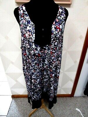 Simply Vera Wang-Black/Multicolor-Floral-Sleeveless-Nightgown-Size-Xxl-Nwt-$44