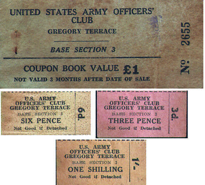 WWII US Army Officers' Club Gregory Terrace Australia set of 3 chits rare & cool