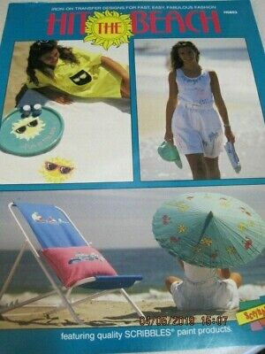 HIT The BEACH Duncan Craft Book Iron On Transfer Designs 16 pg 1990