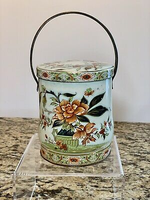 Vintage Daher Floral Handle Metal Tin Canister Container England Biscuit RARE