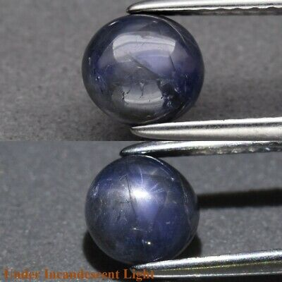 1.44ct 6mm Round Cabochon Natural Unheated Blue 6 Ray Star Sapphire, Myanmar