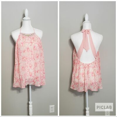 Victoria's Secret Jeweled Pleated Pink Floral Babydoll Embellished VS Size Small