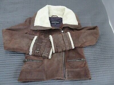 Warehouse Brown Girls Leather bomber style jacket, size 10, lined