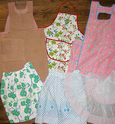 Vintage Lot 6 Aprons Bib/Cobbler & Half-Pockets-Great Fabrics-Polka Dots