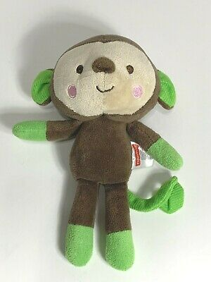 Fisher Price Snugamonkey Monkey Lovey Plush Baby Toy Brown Tan Green 8""