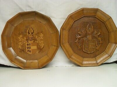 Antique Wooden Coat Of Arms Carving And Inlaid Plaques