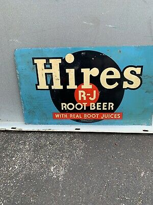 VINTAGE ADVERTISING HIRES ROOT BEER METAL SODA SIGN 12x7