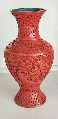 "RARE Antique 19th Century Chinese Red Cinnabar Lacquer Vase 8"" high"