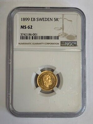 1899 EB Sweden 5 Kronor Gold Coin NGC MS62 Brilliant Uncirculated