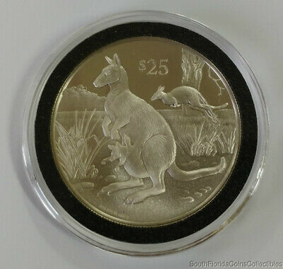 Rare Wallaby 1993 British Virgin Islands $25 .925 Sterling Silver Proof Coin
