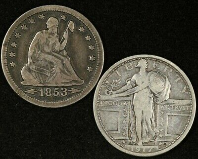 1853 Arrows & Rays Seated Liberty Quarter Vf & 1917 Type 1 Standing Liberty 25C
