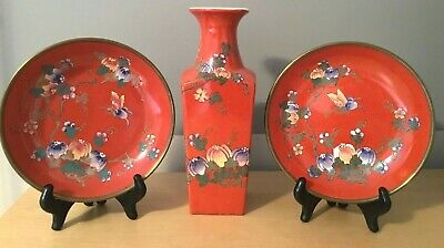 3pcs Vintage Chinese Hand Painted Red Porcelain Vase Plates