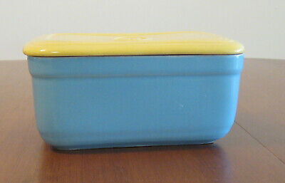 Vintage Hall China Co Westinghouse Blue & Yellow Refrigerator Dish