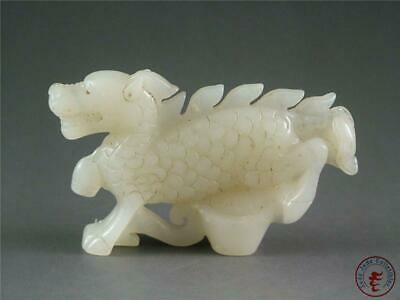 Old Chinese Nephrite Celadon Jade Carved Statue Toggle POWERFUL DRAGON IMAGE