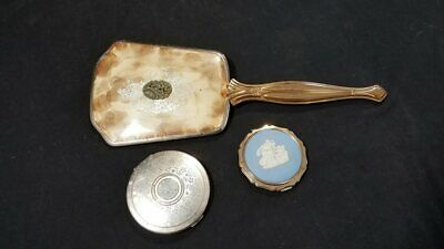 "Vintage 13"" Hand Mirror & Pair Of Compacts"