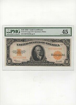 """Beautiful 1922 $10 """"Gold Certif"""" Large  Fr#1173  Pmg Choice Extra Fine 45  Nr"""