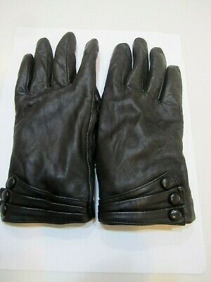 Women's Black Leather Fur Lined Driving Gloves Sz S