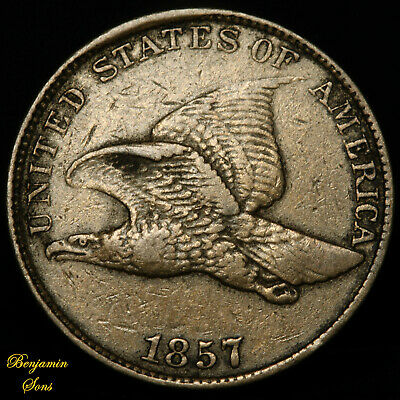 1857 FLYING EAGLE CENT 1c, 052420-02E Free shipping!