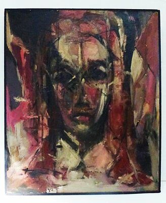 Large 1959 Abstract Figurative Oil Painting - Signed