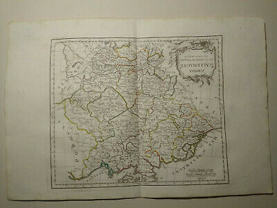 German Empire, 1784 HAND COLORED MAP DE VAUGONDY