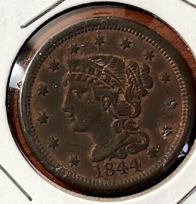 Better Date 1844 Braided Hair US Large Cent Copper Coin Red Brown Set Break EF
