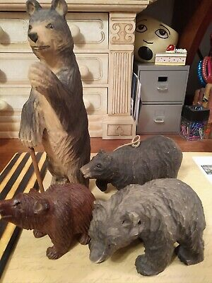Lot Of Vintage Hand Carved Bears (4)