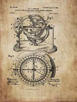 Sailing ship, steering wheel, telescope - historical drawings for poster / gift