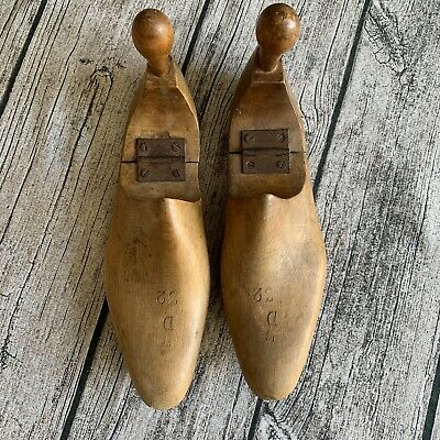 "Antique Vintage Hinged Wooden Shoe Lasts Stretchers 11"" Long"