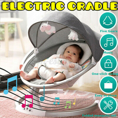 Baby Infant Swing Rocker Compact Cradle Toddler Seat 5 Speeds Motion Chair