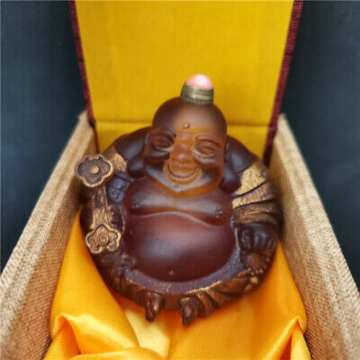 collectable Ancinet coloured glaze handmade carving Maitreya buddha snuff bottle