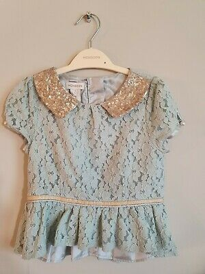 Monsoon Girl's Mint Green Skirt And Blouse Set Age4