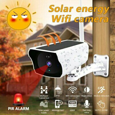 Outdoor Solar Powered Wireless 1080P HD Security IP67 Bullet Camera Night Vision