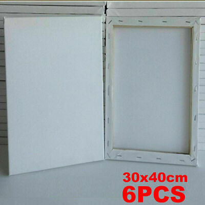 6PCS Blank Artist Canvas Art Board Plain Painting Stretched Framed White Large
