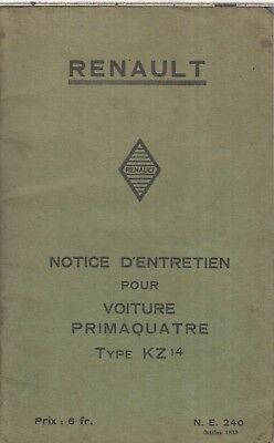 Renault Primaquatre Type Kz14 Orig. 1933 Owners Instruction Handbook French Text