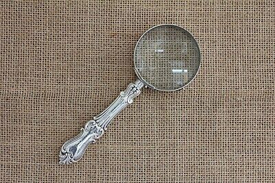 Magnifying Glass With Albert Pattern Sterling Silver Handle Sheffield 1860