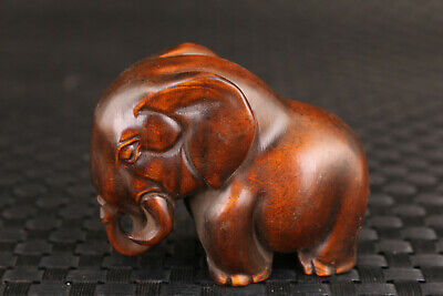 chinese old boxwood hand carved elephant statue netsuke collectable table deco