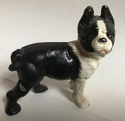 Vintage Cast Iron Boston Terrier, Bull Dog Door Stop / Smaller size