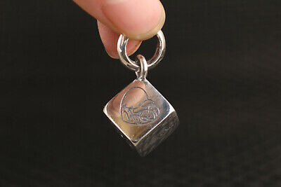 19g Chinese 925 silver flower Statue pendant Necklaces car key dice gift
