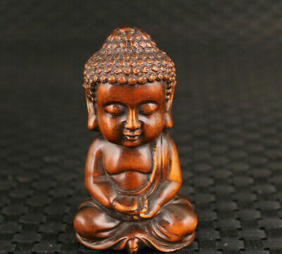 Rare chinese old boxwood hand carved blessing buddha figure statue hand piece